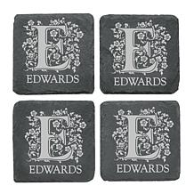 Personal Creations Set of 4 Personalized Scroll & Letter Coasters