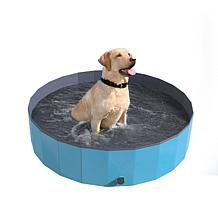 Pet Pal Collapsible Dog Pool and Bath with Drain - Blue