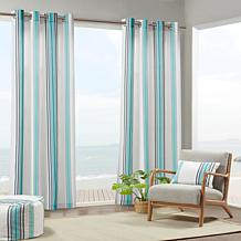 Newport Printed Stripe Outdoor Panel Curtain - Blue & White