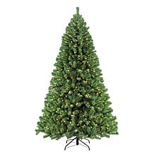 Puleo 7.5 ft. Noble Fir Artificial Christmas Tree w/600 Clear Lights
