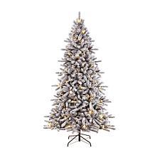 Puleo International 6.5' Pre-Lit Flocked Fir  Christmas Tree
