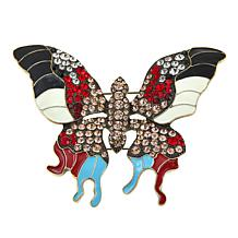 Rara Avis by Iris Apfel Crystal and Enamel Butterfly Brooch