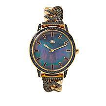 Rarities Black Mother-of-Pearl Dial Gemstone Link Bracelet Watch