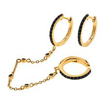 Rarities Black Spinel Chain-Link Cuff and Hoops Earring Set