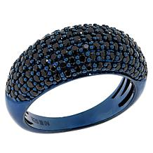 Rarities Blue Rhodium Sterling Silver Black Spinel Domed Band Ring