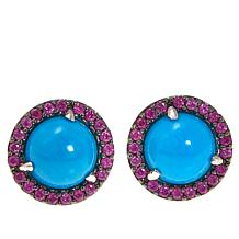 Rarities: Fine Jewelry with Carol Brodie Turquoise & Gem Stud Earrings