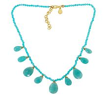 Rarities Gold-Plated Colored Gemstone Pear-Drop Beaded Necklace