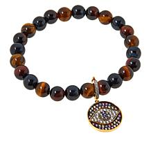 Rarities Gold-Plated Evil Eye Charm with Gem Bead Stretch Bracelet