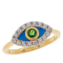 Rarities Gold-Plated Gemstone and White Zircon Evil Eye Ring