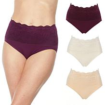 Rhonda Shear 3-pack Cotton Blend Ahh Panty with Lace Overlay