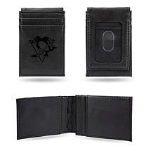 Rico Laser-Engraved Black Front Pocket Wallet - Penguins