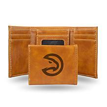 Rico Laser-Engraved Brown Tri-fold Wallet - Atlanta Hawks