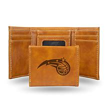 Rico Laser-Engraved Brown Tri-fold Wallet - Magic
