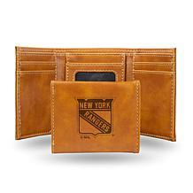 Rico Laser-Engraved Brown Tri-fold Wallet - NY Rangers