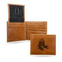 Rico Red Sox Laser-Engraved Brown Billfold Wallet