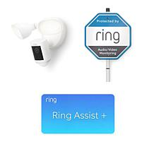 Ring Security Floodlight Cam Wired Pro with Yard Sign and Ring Assist+