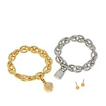 R.J. Graziano Chain Reaction 2-piece Bracelet Set with Stud Earrings