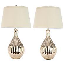 Safavieh Elli Set of 2 Silver Base Lamps