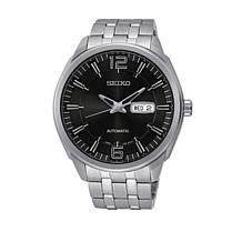Seiko Men's Black Dial Stainless Steel Automatic Watch