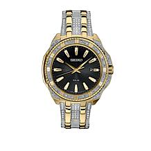 Seiko Men's Crystal-Accented Black Dial Solar Watch