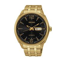 Seiko Men's Goldtone Black Dial Self-Winding Watch
