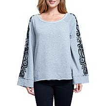Seven7 Bell Sleeve French Terry Top with Flocking Detail- Heather Grey