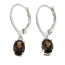 Sevilla Silver™ 1.27ctw Oval Smoky Quartz Drop Earrings