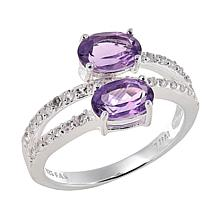 Sevilla Silver™ 1.51ctw Amethyst and White Topaz Bypass Ring