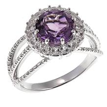 Sevilla Silver™ 2.02ctw Round Amethyst and Topaz Ring