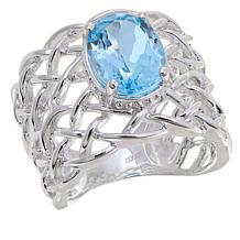 Sevilla Silver™ 2.82ct Sky Blue Topaz Webbed Band Ring