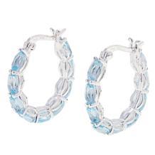 Sevilla Silver™ 4.5ctw Oval Blue Topaz Hoop Earrings