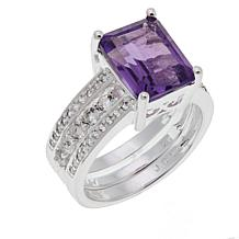 Sevilla Silver™ Amethyst and White Topaz Ring Guard Set