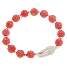 Sevilla Silver™ Coral Bead and Cultured Pearl Stretch Bracelet