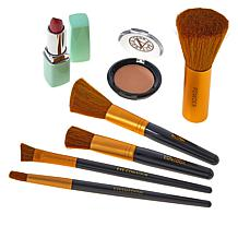 Signature Club A 5-piece Makeup Brush Set with Powder & Lipstick