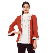 Slinky® Brand 3/4 Bell-Sleeve Jacket with Lace Trim