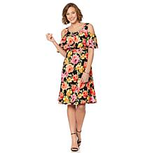 Slinky® Brand Printed Textured Dress with Ruffle Overlay