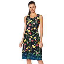 bb9f5a880930d Slinky® Brand Sleeveless Printed Crepe A-Line Dress