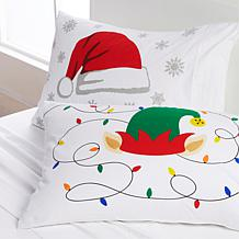 South Street Loft 100% Cotton 2-pack Pillowcases - Santa & Elf Hat