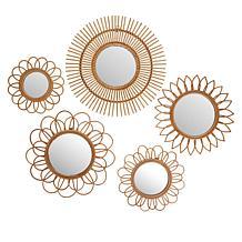 South Street Loft Set of 5 Handmade Rattan Mirrors