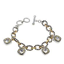 Stately Steel 2-Tone Oval-Link Crystal Charm Bracelet and Toggle Clasp