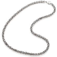 Stately Steel 4mm Byzantine Chain Necklace