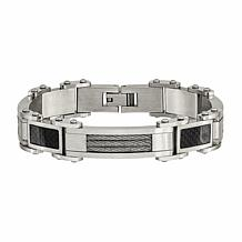 Stately Steel Black Carbon Fiber Inlay Bracelet
