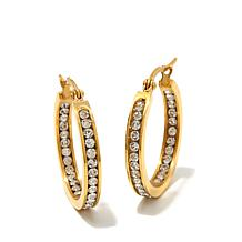 Stately Steel Crystal Inside/Outside Hoop Earrings