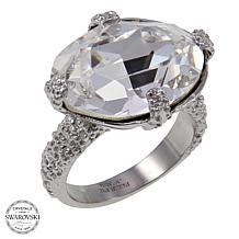 Stately Steel East/West Oval Crystal Cocktail Ring