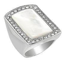 Stately Steel Mother-of-Pearl and Crystal Rectangular Ring