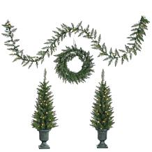 "Sterling 24"" Wreath, 9' Garland and (2) 3-1/2' Trees"