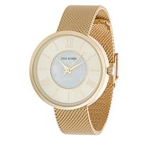 Steve Madden Women's Goldtone Sunray Dial Mesh Band Watch
