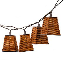 The Gerson Co. 12Ft Solar Patio Light Strings with Rattan Shade Covers