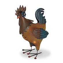 """The Gerson Company 17.72""""H Solar Topaz/Rustic Burnished Rooster Statue"""