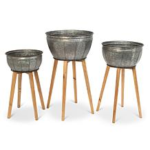The Gerson Company Metal Galvanized Planters on Wooden Stands 3-pack